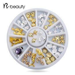 Wholesale Sea Shell 3d Nail Art - Wholesale- Hot Shell Sea Style 3d Nail Art Sticker Decoration Studs Gold Silver Metal Alloy Glitter Charm DIY Beauty Salon Nail Tools
