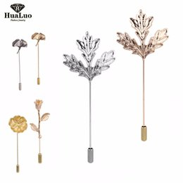 Wholesale Rose Gold Brooches - Unisex Men Women Rose Flowers Leaves Brooch Pins Suit Boutonniere Collar Lapel Enamel Pin Gold Silver Hijab Accessories