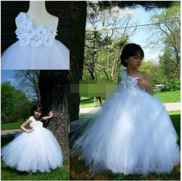 Wholesale One Shoulder Bridesmaid Dresses Tulle - 2017 White Flower Girls Dresses One-Shoulder Floor-Length Tulle with Hand made flowers A-Line Kids Formal Dress Junior Bridesmaid Dress DTJ