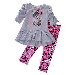 Wholesale Kids Leopard Print Pants - Wholesale- 2016 Spring Autumn Kids Baby Girls Cat Printed T-shirt Tops Dress+Leopard Pants 2PCS Outfits Set