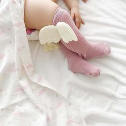 Wholesale Infant Girl Winter - New Angel wings Newborn Socks Cotton Children Socks Kids Knit Knee High Socks Baby Girls Sock Girls Baby Clothing Infant Clothes wear A1195