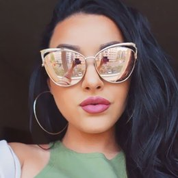 Wholesale Cateye Glasses Frames - Wholesale- VictoryLip 2017 Fashion Cat Eye Rose Gold Mirror Sunglasses Women Brand Designer Metal Frame Lady Sun Glasses Cateye Female
