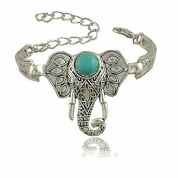 Wholesale Silver Totem Bangle Cuff Bracelet - New Fashion Retro Totem Elephant Charm Bracelet Bohemia Natural Turquoise Stone Bracelets & Bangle for Women Men Beach Jewelry