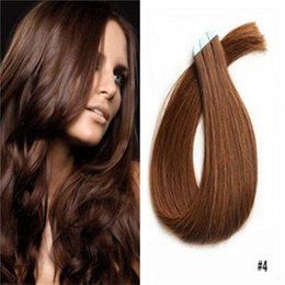 Wholesale Wholesale European Tape Hair Extensions - Invisible Skin Weft PU Tape Hair Extension Blonde Straight 100% Human Hair Unprocessed European Tape In Hair