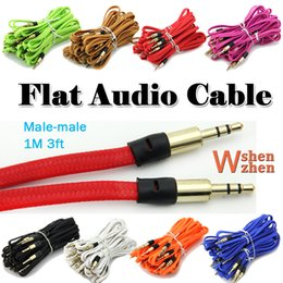 flat mp3 Coupons - 2M 3.5mm Male M M Flat Fabric Stereo Audio AUX Auxiliary Car Aduio Cable Cord PC For iPhone PC MP3 Adapter MP3