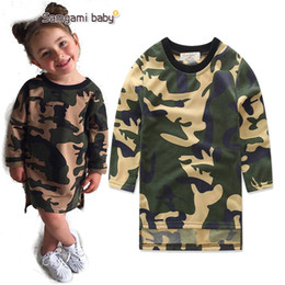 Wholesale Top Little Girl Dresses - New Baby Camouflage T-shirts Dress For Little Girls Spring Fall Cotton Long Sleeve Irregular Edge Dress Babies Shirts Tops Dresses For 1-5T