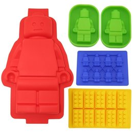 Wholesale Lovers Molds - Wholesale- 5pCS Big Robot Cake Pan Silicone Lego Lovers Chocolate Mold Building Block Ice trays Silicone Baking Molds Bakeware Tools