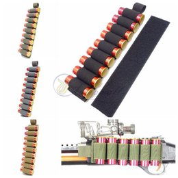 Wholesale Shotgun 12 - Tactical Nylon 9 Rounds Shotgun Shell Butt Stock Ammo Carrier Holder With Adhesive Backing Strip Shell Holder for 12 Gauge