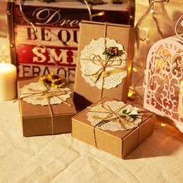 Wholesale Diy Favor Boxes - 30PCS Retro Paper Box DIY Square Rectangle Candy Box Rustic Wedding Party Festive Gift Bag Favor Box with Handmade Craft Flower Decoration