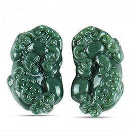 Wholesale China Amulet - 100% Natural Hetian Jade Carved Pixiu Lucky Amulet Brave Troops Jade Pendant Necklace For Men Jade Jewelry With Certificate