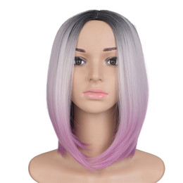 Wholesale Wig Cosplay Blonde - Mtmei Hair Heat Resistant 10'' Short Bob Wigs For Women Synthetic Straight Black Brown Ombre Kanekalon Cosplay Wig Hairstyles