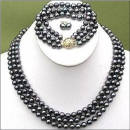 Wholesale Tahitian Mm Black Pearl - ELEGANT 3 ROWS BLACK 7-8 MM TAHITIAN PEARL NECKLACE BRACELET EARRING SET