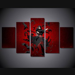 Wholesale Naruto Figure New - New Anime Naruto Uchiha Itachi Canvas Painting Wall art HD Printed Poster For Kids room 5 Pieces No frame