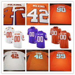 Wholesale Muse Black - Cheap Men Clemson Tigers College Football 18 TJ Chase 19 Tanner Muse 42 Christian Wilkins 90 Dexter Lawrence White Purple Stitched Jerseys