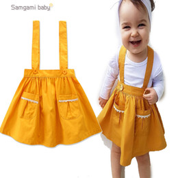 Wholesale Elegant Dress European - INS Europe and America new arrival Girl dress summer sleeveless 100% cotton yellow color suspender dress girl elegant straps dress