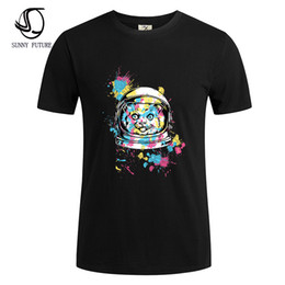 Wholesale T Shirt Fabric Wholesale - Wholesale- SUNNY FUTURE Brand Clothing 100% Cotton Fabric T Shirt Mens Character Print T-Shirt Men's 2016 Summer Short Sleeve Tee Shirt