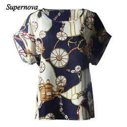 Wholesale Marketing Chain - Wholesale- Hot Marketing 2016 New Women Wheel Chain Print Short Sleeve Chiffon Tops T-shirt S24