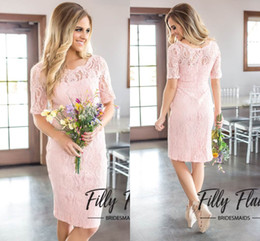 Wholesale Elegant Knee Length - 2017 Simple Elegant Pink Full Lace A Line Bridesmaid Dresses Country Style Crew Neck Half Sleeves Zipper Back Maid of Honor Gowns