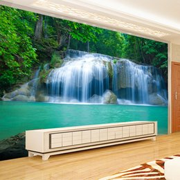 Wholesale Nature Print Paper - Wholesale- Custom 3D Wall Mural Wallpaper Waterfall Nature Landscape Painting For Living Room TV Background Wall Papers Home Decor Modern