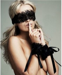 Wholesale Hot Lingerie Sex - Adult Sex products 2017 New Women's Sexy Lingerie Hot Black Lace Eye Covers with 1 pair Gloves Hand Wrap Sex Toy Costumes
