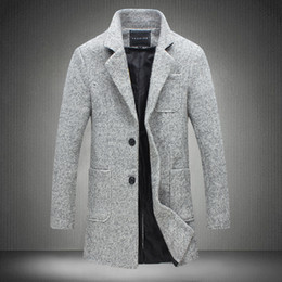 Wholesale Mens Long Casual Wool Overcoats - Wholesale- 2017 New Long Trench Coat Men Windbreak Winter Fashion Mens Overcoat 40% Wool Quality Thick Warm Trench Coat Male Jackets 5XL