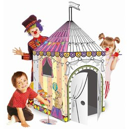 Wholesale Diy Doodle - Kids big size doodle 3D Puzzles Jungle House teepee tent children's Cardboard DIY Painting puzzles kindergarten educational toys kids gifts