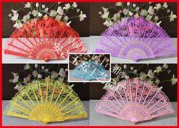 Wholesale Chinese Folk Dancing Costumes - 100pcs lot Dancing Folding Hand Lace Fan Bronzing Pattern Plastic Fan Chinese Folk Arts Costume Party Wedding Fan