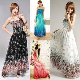 Wholesale Ladies Chiffon Sun Dresses - Wholesale- Women print Sexy Boho Long Maxi Dress Ladies Summer Beach Sun Dress