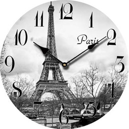 Wholesale Cheap Vintage Europe - Wholesale-Europe Paris Eiffel Tower Cheap Wall Clock Decor Retro Large Decorative Modern Wall Clock Vintage French Antique Wood Clock