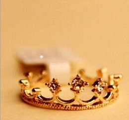 Wholesale Jewelry Crown Price - 2017 New Fashion Gold Silver Plated Ring Women Girls Crystal Crown Rings Finger Ring jewelry cheap price