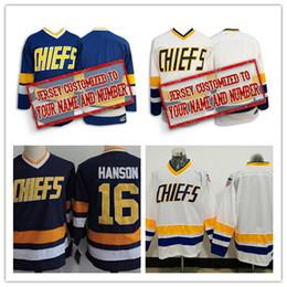 Wholesale Boys Brother - Mens kids womens Blue Custom movie Slap Shot Hanson brothers Hockey Jerseys Stitched Personalized Charlestown CHIEFS Hanson Jersey S-3XL