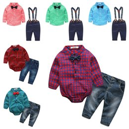 Wholesale Boy Bow Tie Belt - 2017 new kids suits 2pcs long sleeves shirt shirt+pants cute bow tie tshirt and pants kids belt pants kids cotton suits