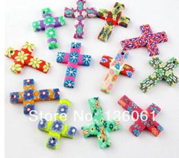 Fimo anhänger online-Mischfarbe Polymer Fimo Clay Kreuz Charms Anhänger Für Schmuck Machen Armband Halskette Modeschmuck Komponenten Zubehör DIY Geschenk Z114