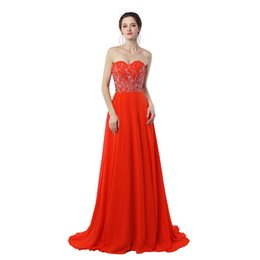 Wholesale Long Chiffon Sweetheart Dress - 2017 New Real Photo Sexy Sweetheart Long Prom Dresses Off The Shoulder Chiffon With Beading Red A-Line Evening Dress Hot Sale