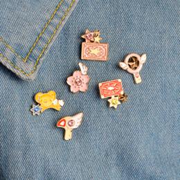 Wholesale Anime Wand - Card Captor Sakura Kero Sword Kinomoto Star Wand Key Enamel Pin Lapel Pin Badge Japanese Anime collection