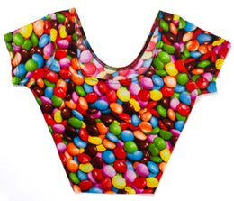 Wholesale Short Color Neon - Wholesale-X-106 New 2015 neon Print Cap Sleeve Crop Top summer cartoon t shirts Color Candy sexy women shirts Free Shipping