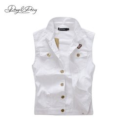 Wholesale Male Jeans Korean New - Wholesale- New Fashion White Denim Waistcoat Male Korean Single Breasted Cowboy Sleeveless Jackets Washed Brand Casual Jeans Vests DCT-074