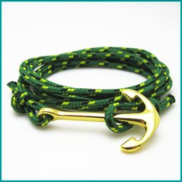 Wholesale Multi Colour Bracelet - Free Shipping 10pcs lot hot sale New design custom jewelry multi colour nylon nautical rope anchor bracelet men