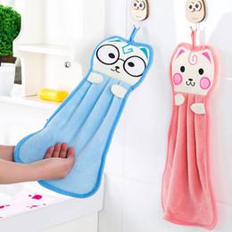 Wholesale Cotton Dishcloths Kitchen Towels - Bathroom Hanging Hand Towel Super Absorbent Washcloths Kitchen Cleaning Dishcloth Cartoon Cat Polyester +Cotton