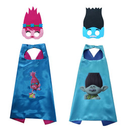 Wholesale Hot Free Capes - HOT Trolls Capes Double Layer Cape and masks Superhero Capes and masks Children Kids Capes Cosplay 70*70CM Free Shipping