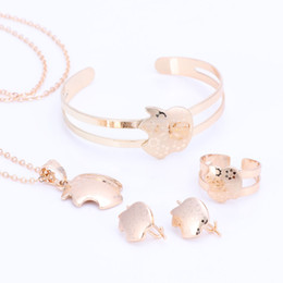 Wholesale Golden Child Jewelry - Gold Color Baby Jewelry Set Gift Children Apple Jewelry Sets Kids Jewellery Ring Earring Bracelet Pendant Necklace Jewelry Set