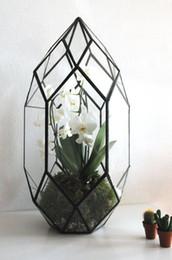 Wholesale Vase Modern Glass - table greenhouse Handmade Glass Terrarium   Modern Planter for Indoor Gardening   Geometric Crystal Shape Orchid Planter Table Greenhouse