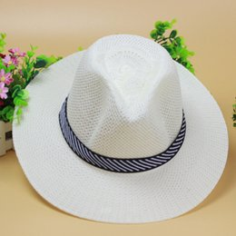 Wholesale Male Derby Hat - 2017 New Summer Adult Jazz Hat Male Beach Sun Hat Fedoras for Man and Women Sunscreen Straw Hat