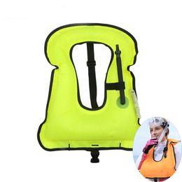 Wholesale Wholesale Swimwear Rings - Wholesale- 2017 Inflatable life vest jacket life Float ring swim Snorkeling Gear dive suit Equipment Swimwear inflatable adult swimwear