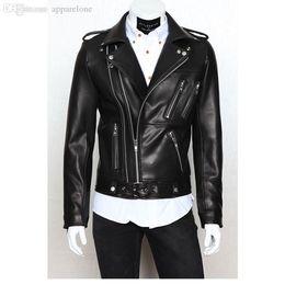 Wholesale Locomotive Jackets - 2017 Newest Men Leather Foreign Trade Biker Jacket Men Leather Jackets and Coats Locomotive Zipper Male Leather Jacket