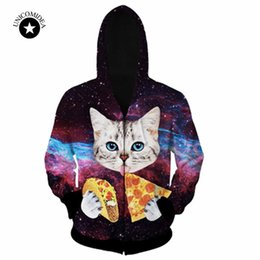 Wholesale Pizza Jacket - Wholesale- 2017 new Fashion men jacket 3D print funny animal cat eat pizza hoodies sweatshirts winter women jacket coat galaxy space hoody
