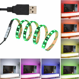 Wholesale Usb Color Changing Light - JIANGUO 5050 USB RGB LED Strip DC 5V Flexible Waterproof Multi-color Changing for Flat Screen HDTV PC TV Laptop Background Lighting 1 Meter
