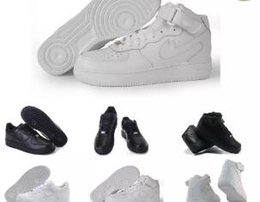 Wholesale High Cut Skate Shoes - 2017 New forces Classical All White black low high cut men & women Sports sneakers Running Shoes Forceing one skate Shoes US 5.5-11