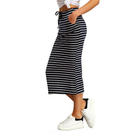 Wholesale Pocket Pencil Skirt - 2017010336 Drawstring Striped Twin Pockets Slim Pencil Vintage Skirts 2016 Spring Summer European Style Skirt