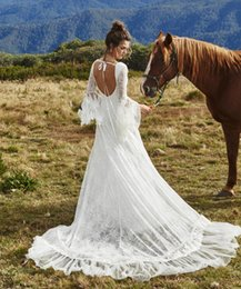 Wholesale Dresses Made Usa - Couture Sexy Lace Boho Wedding Dresses With Sleeves Deep V Neck Backless Split Garden Wedding Gowns Vintage Bridal Dress 2017 USA UK